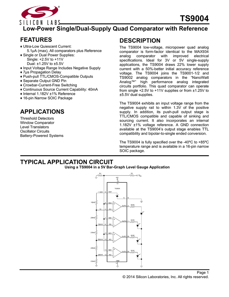 Ts9004 Data Sheet Looking At Window Comparator Circuits
