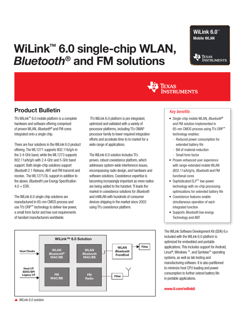WiLink™ 6 0 single-chip WLAN, Bluetooth® and
