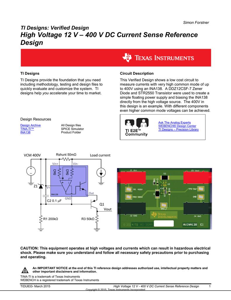 High Voltage 12 V 400 Dc Current Sense Sensing For Application Schematic