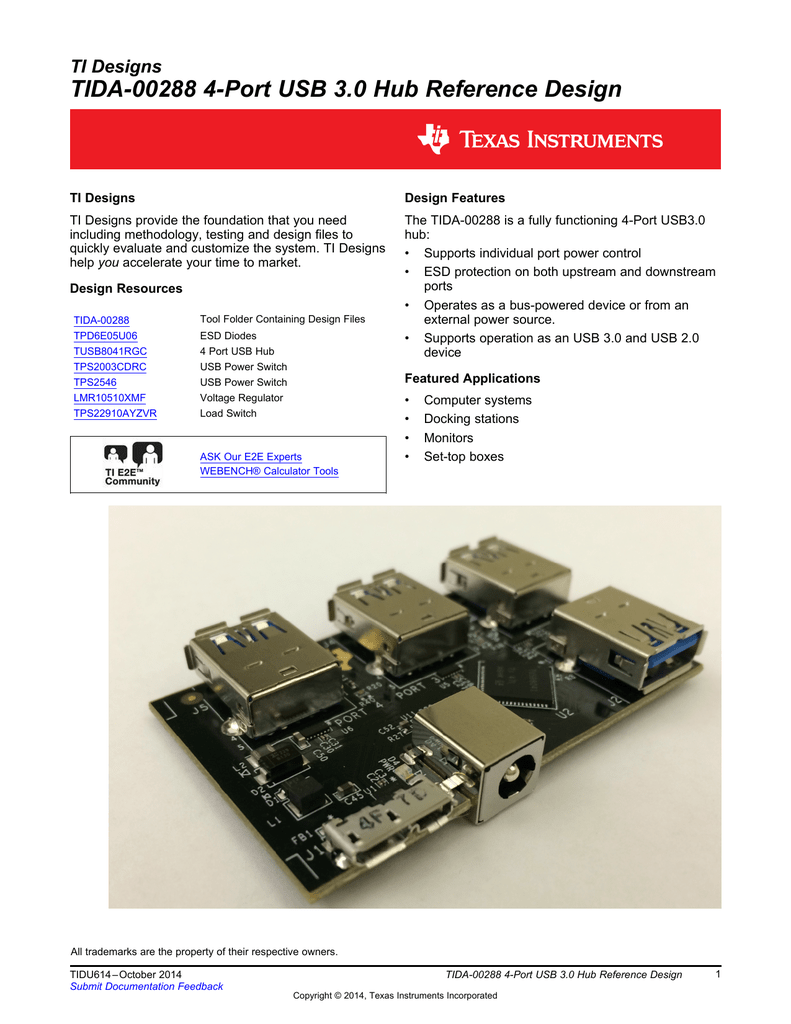 Tida 00288 4 Port Usb 30 Hub Reference Schematic