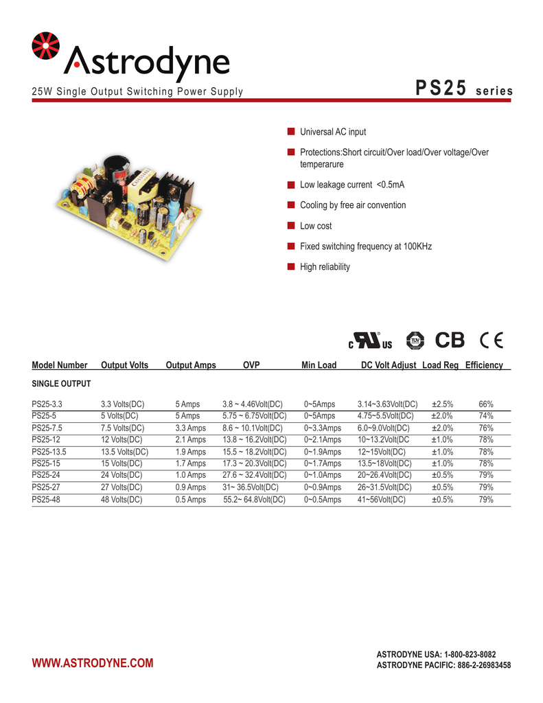 Ps25 Series Astrodynecom 24 Volt Power Supply 10 Amp Single Output