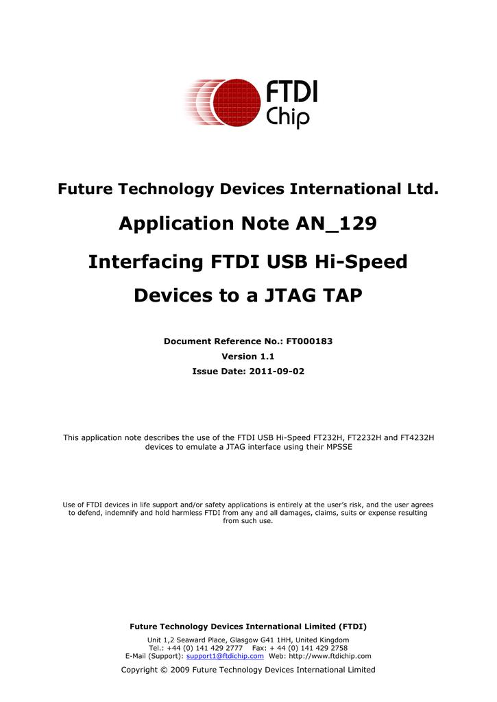 AN_129, FTDI Hi-Speed USB to JTAG Example