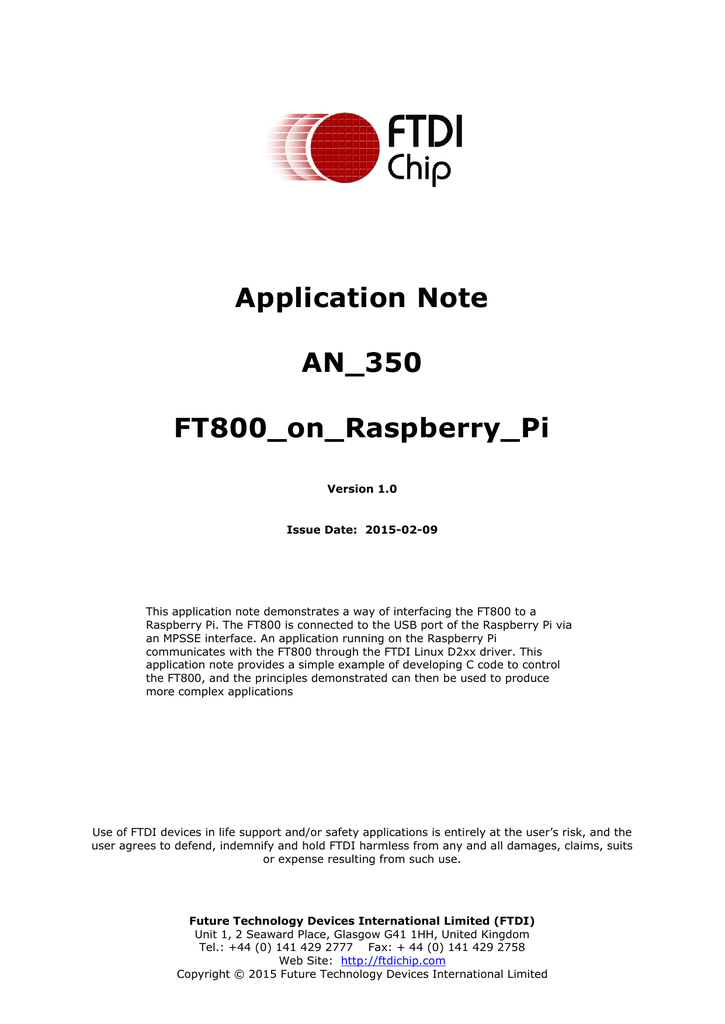 Application Note AN_350 FT800_on_Raspberry_Pi