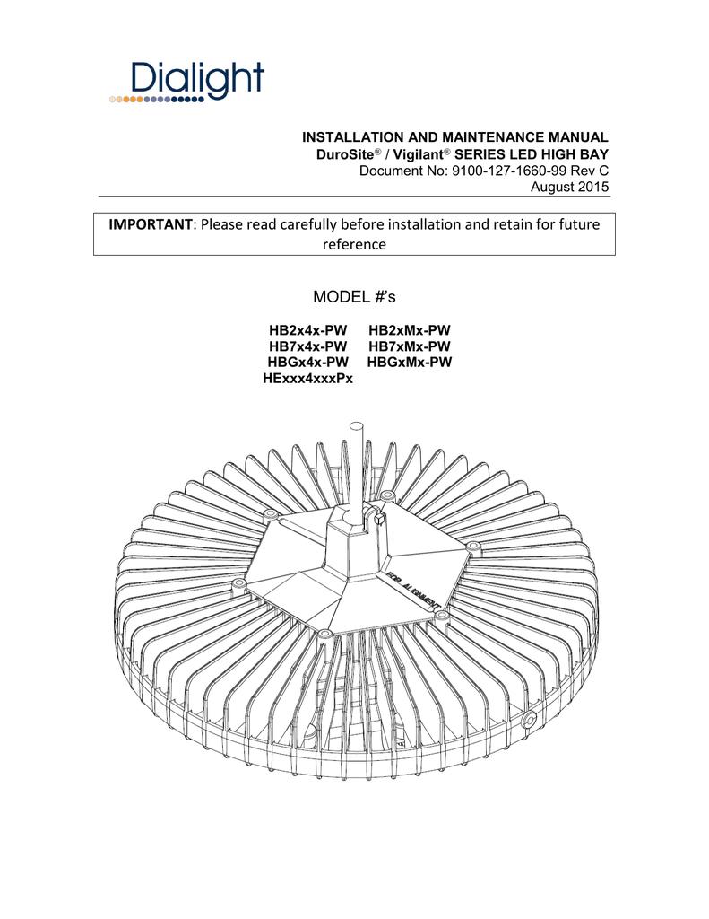 DuroSite and Vigilant High Bay Installation Manual