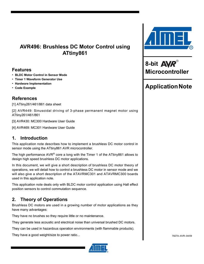 AVR496: Brushless DC Motor Control using