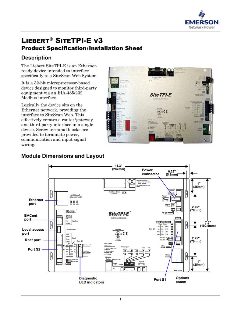 liebert sitetpi e v3 sitetpi e rh dtsheet com Trane Wiring Diagrams RS 485 Wiring-Diagram