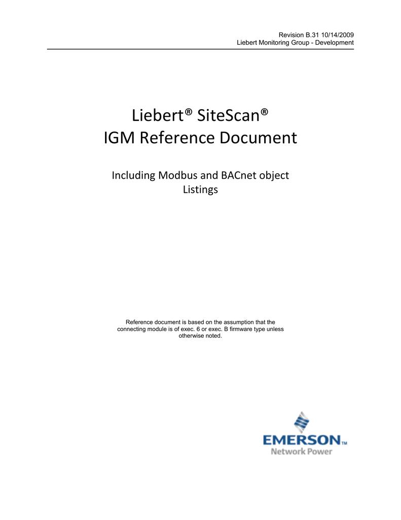Liebert® SiteScan® IGM Reference Document