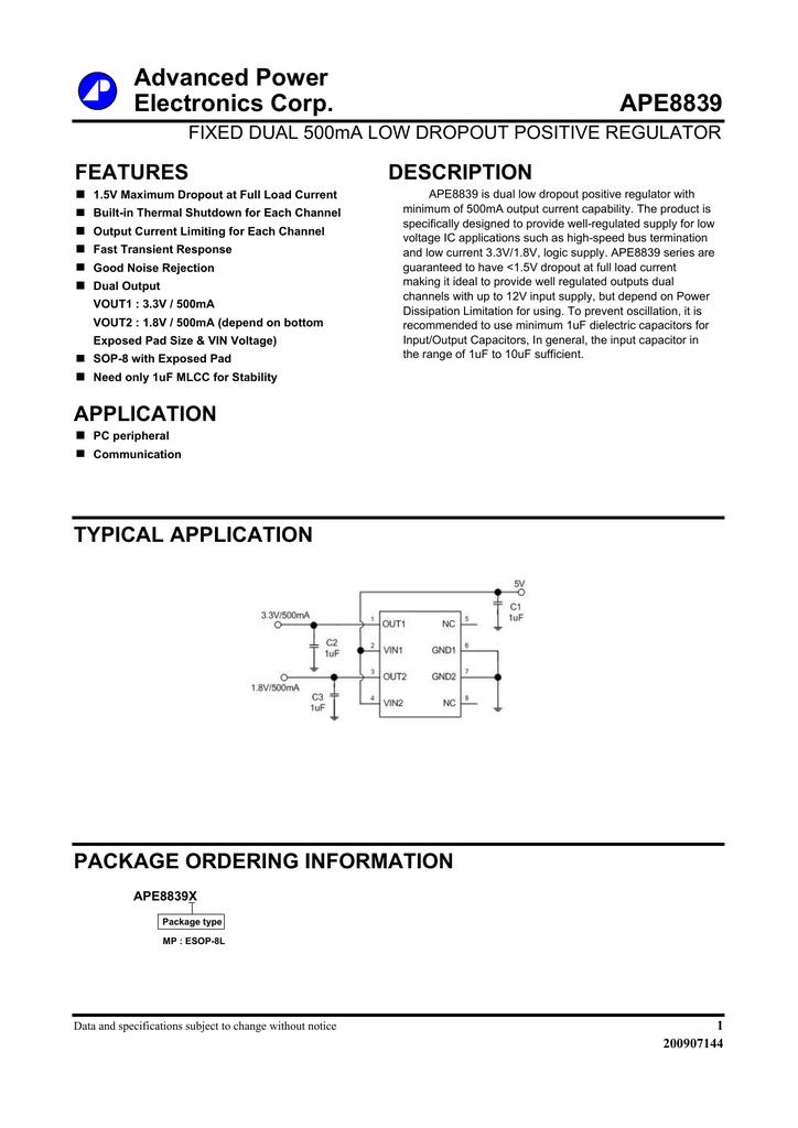 APE8839 Format - Advanced Power Electronics Corp