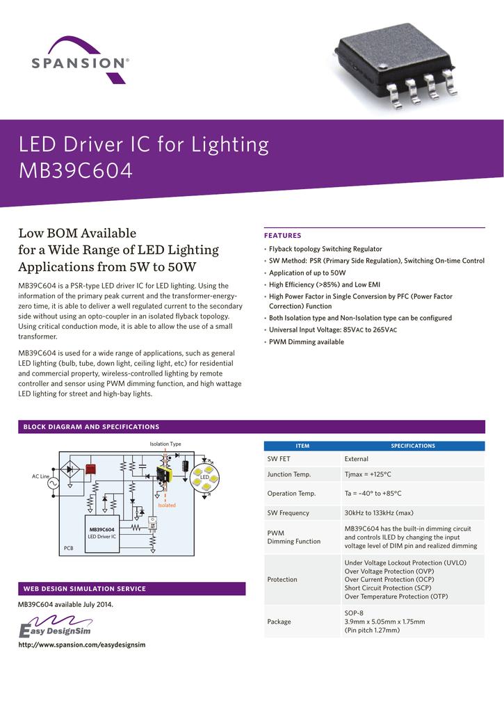 LED Driver IC for Lighting MB39C604