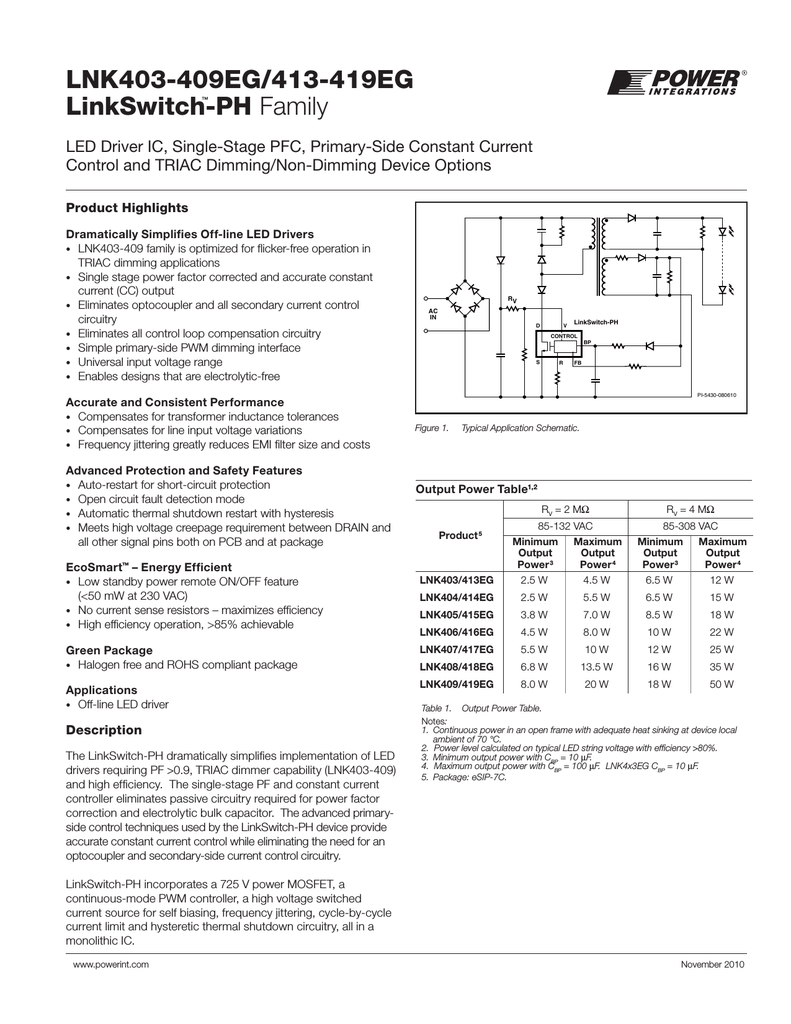 Lnk403 409eg 413 419eg Linkswitch Ph Family Triac Dimmer Circuit Diagram On High Power Led Driver