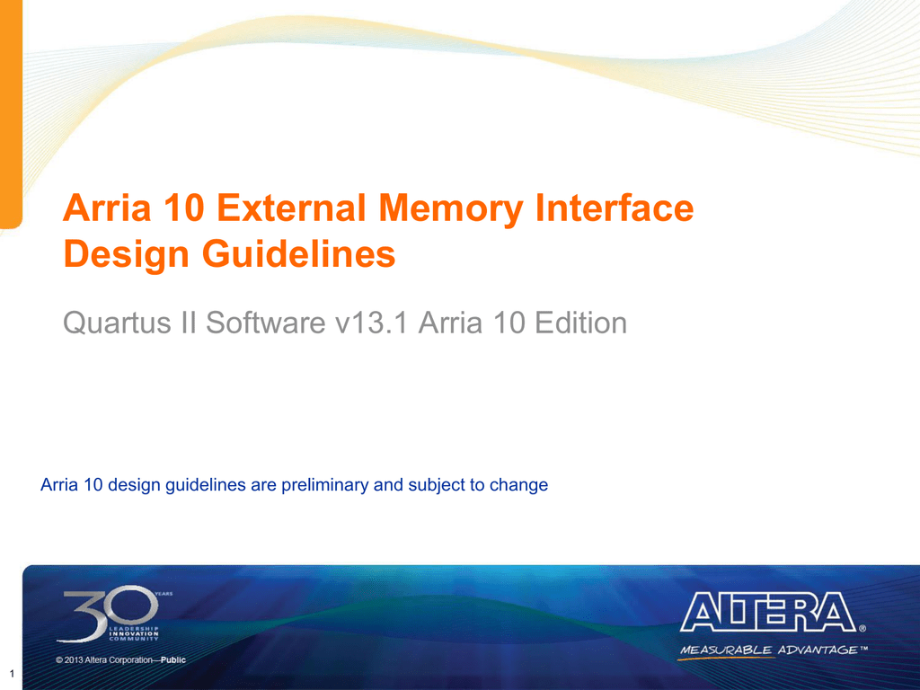 Arria 10 External Memory Interface Design Guidelines