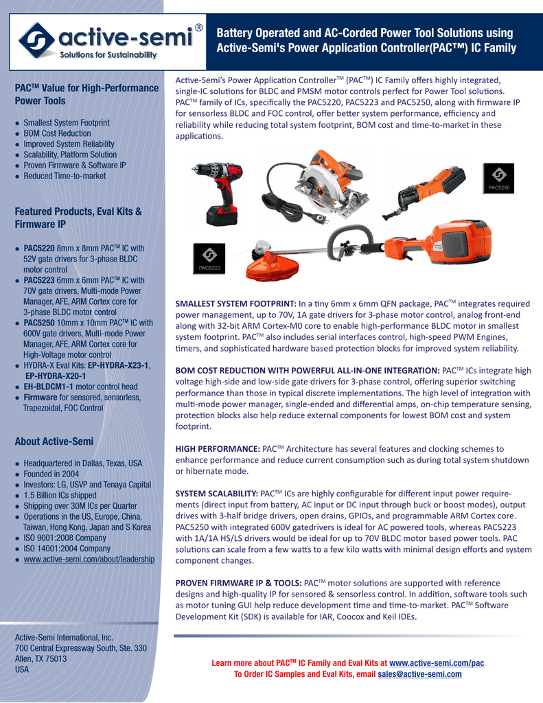 Power Tools Brochure - Active-Semi