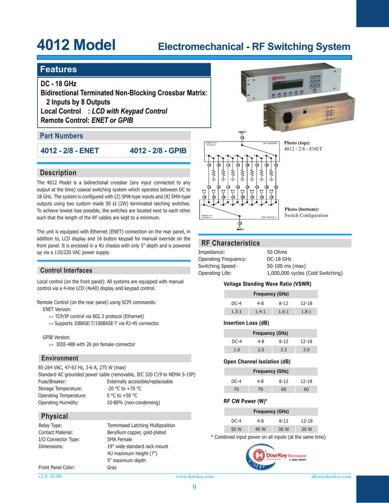 Electromechanical Rf Systems Dow Key Matrix Or Crossbar Switching