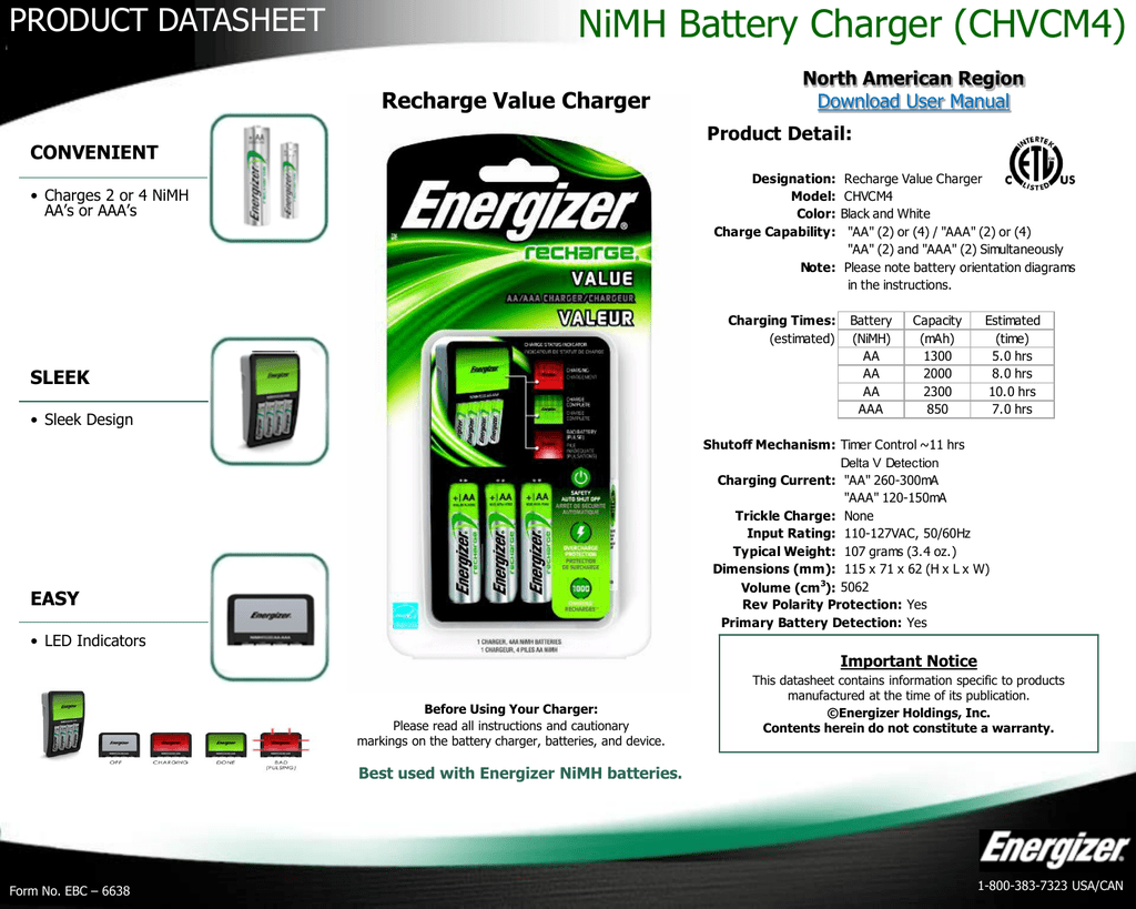 Energizer Battery Charger Ch1hr Instructions