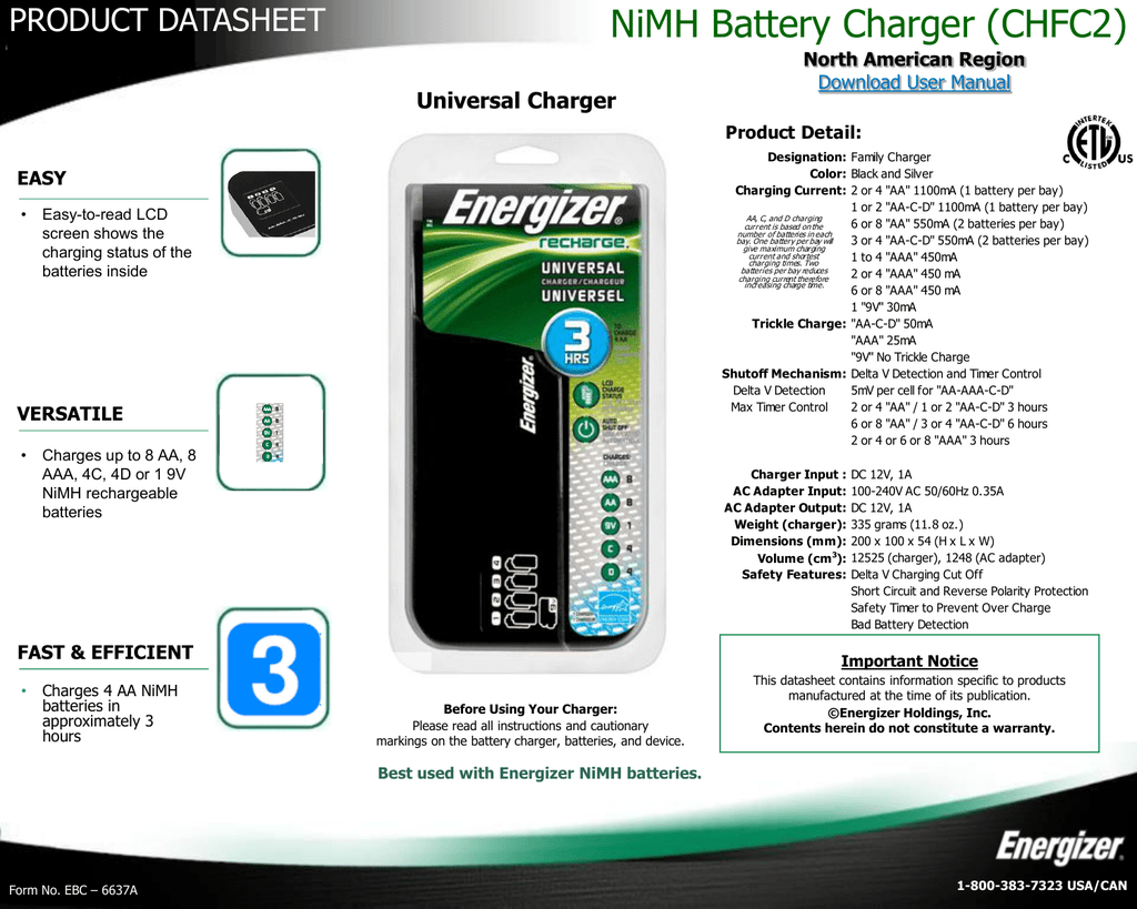 Nimh Battery Charger Chfc2 Energizer Technical Information Reverse Polarity Protection