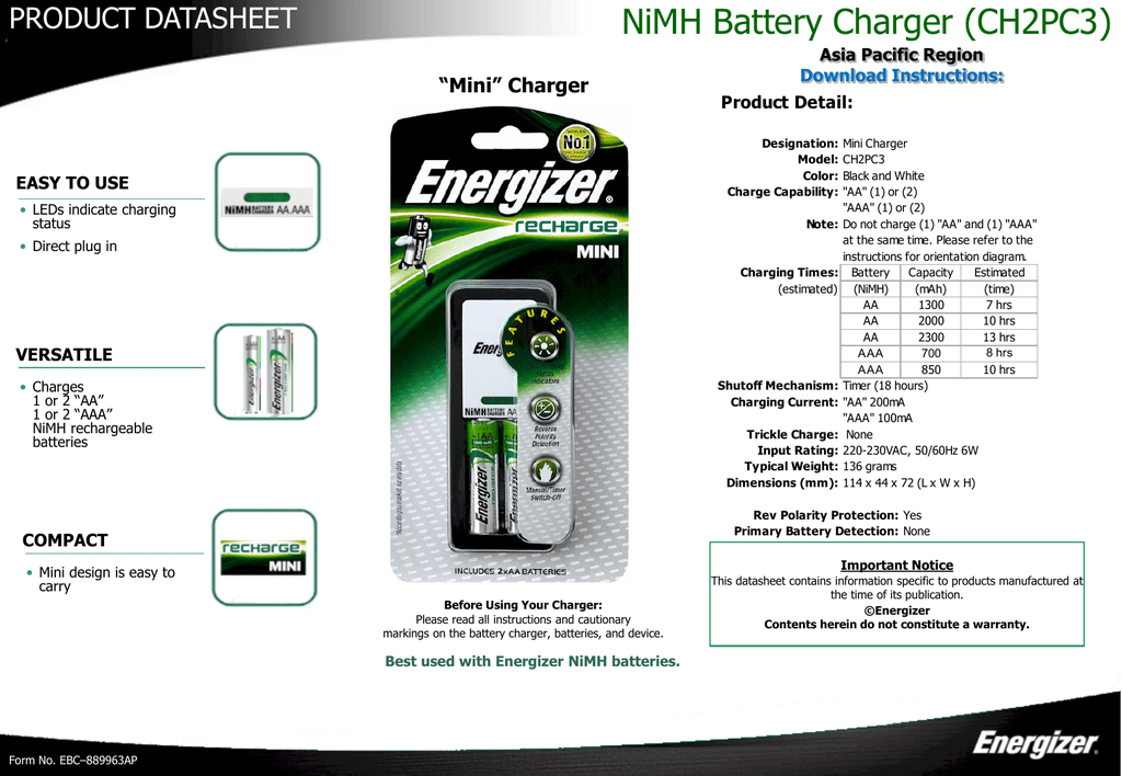 Nimh Battery Charger Ch2pc3 Energizer Technical