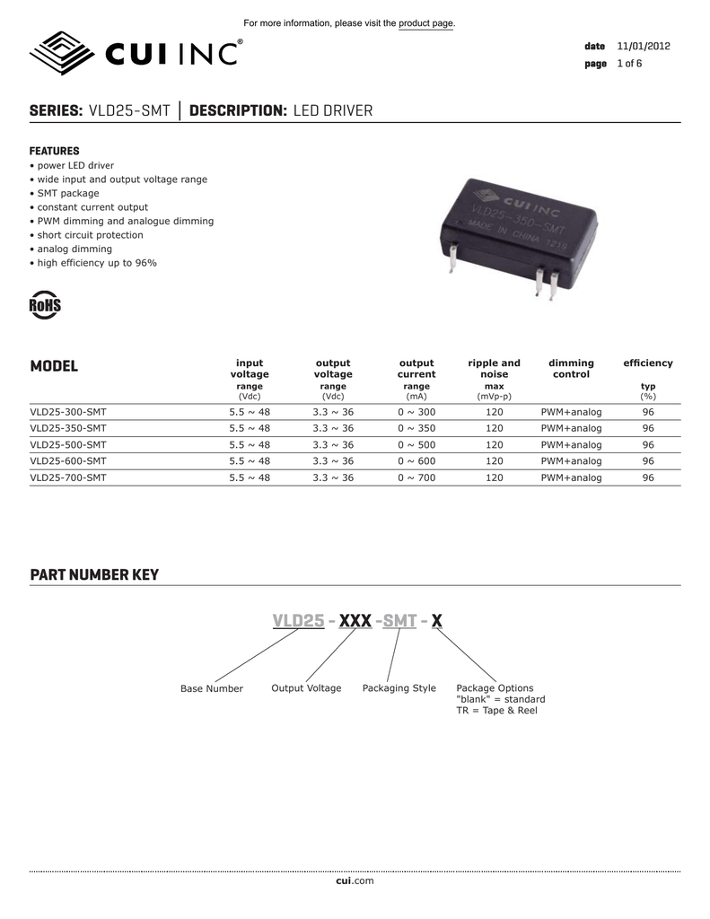 Vld25 Smt Datasheet Led Driver Cui Inc Picture Of High Power Circuits