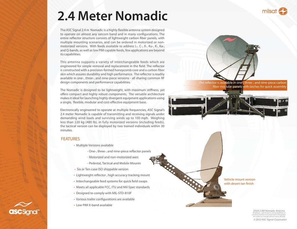 2 4m Nomadic Rapid Deployment Earth Station Antenna