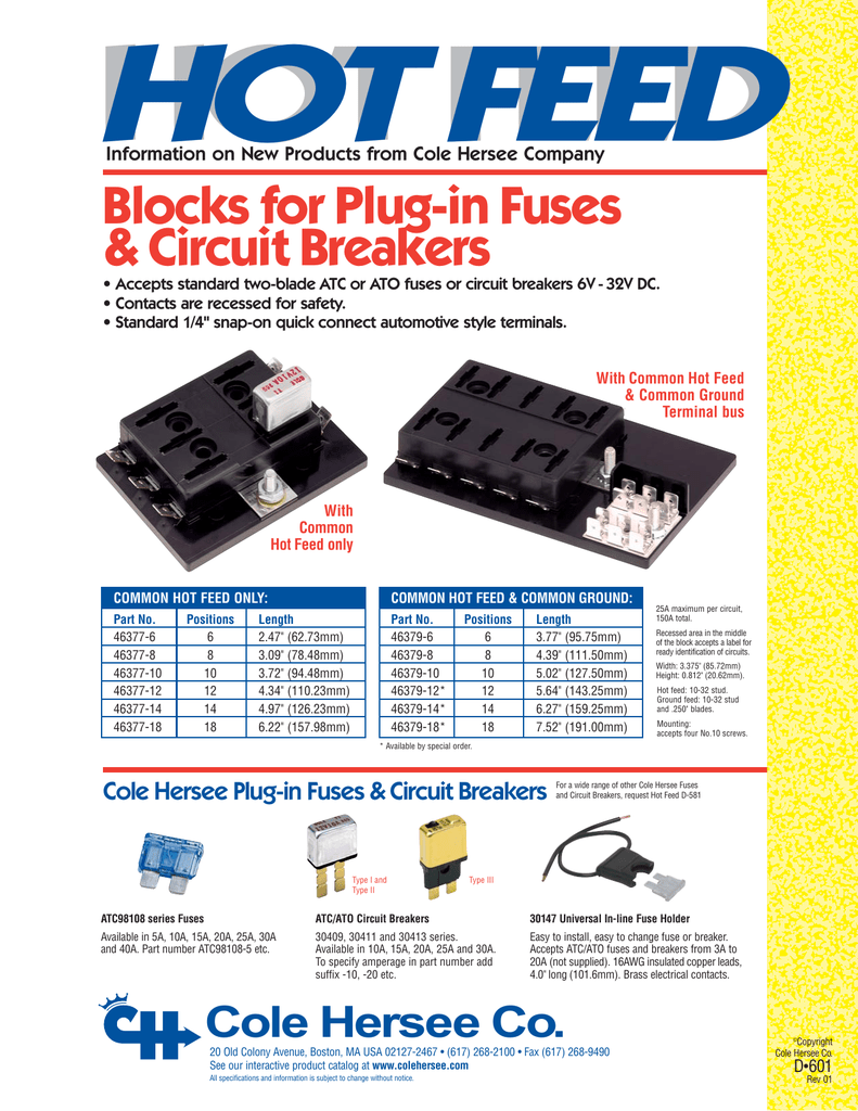Blocks For Plug In Fuses Circuit Breakers Info Sheet D 601 Add A Atc Standard Blade Fuse Holder Connector