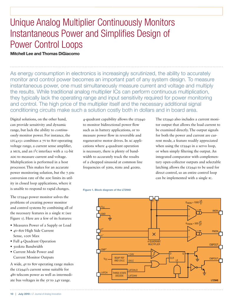 Unique Analog Multiplier Continuously Monitors Instantaneous Power Linear Ltc4151 Voltage And Current Monitoring Device Datasheet 001533399 1 51ef517ddbe8650cf65ba0843c5d943c