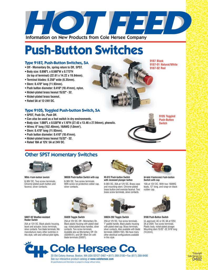Cole Hersee 90030 Black Push-Button Switch with Black Screw-On Cap