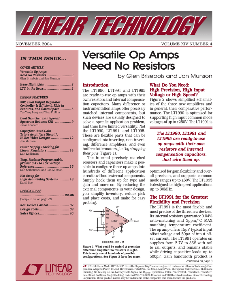 November 2004 Versatile Op Amps Need No Resistors Lt1006 Precision Single Supply Amp Linear Technology