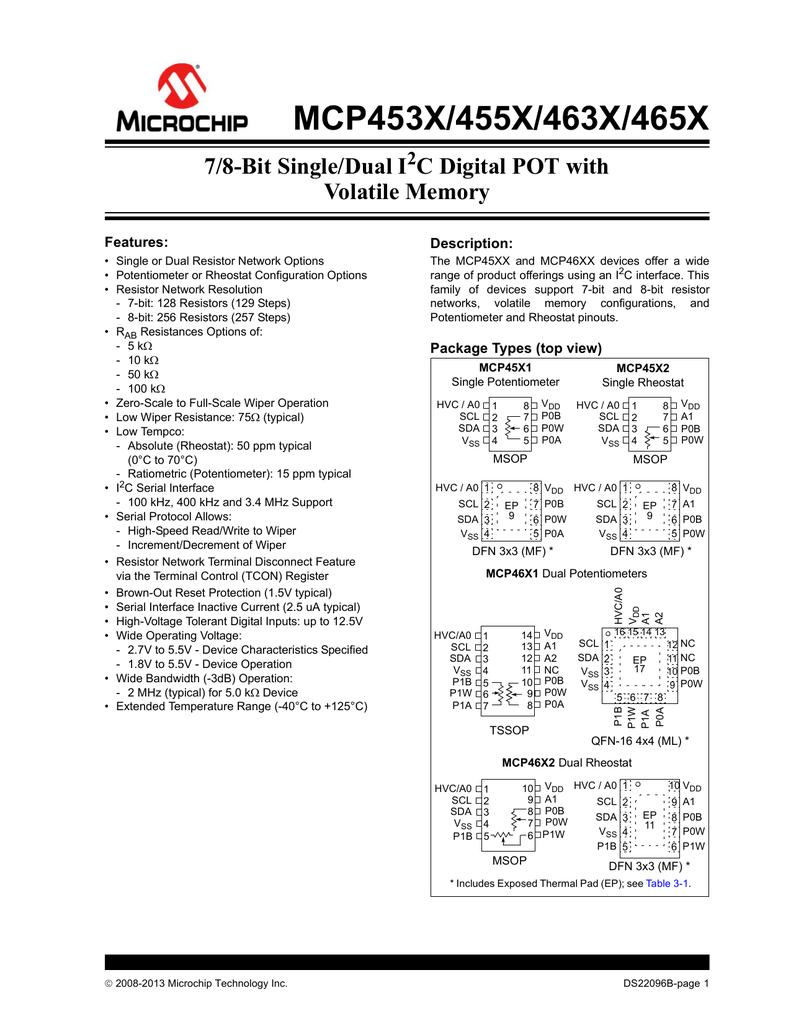 MCP453X/455X/463X/465X -7/8-Bit Single/Dual I2C Digital POT with