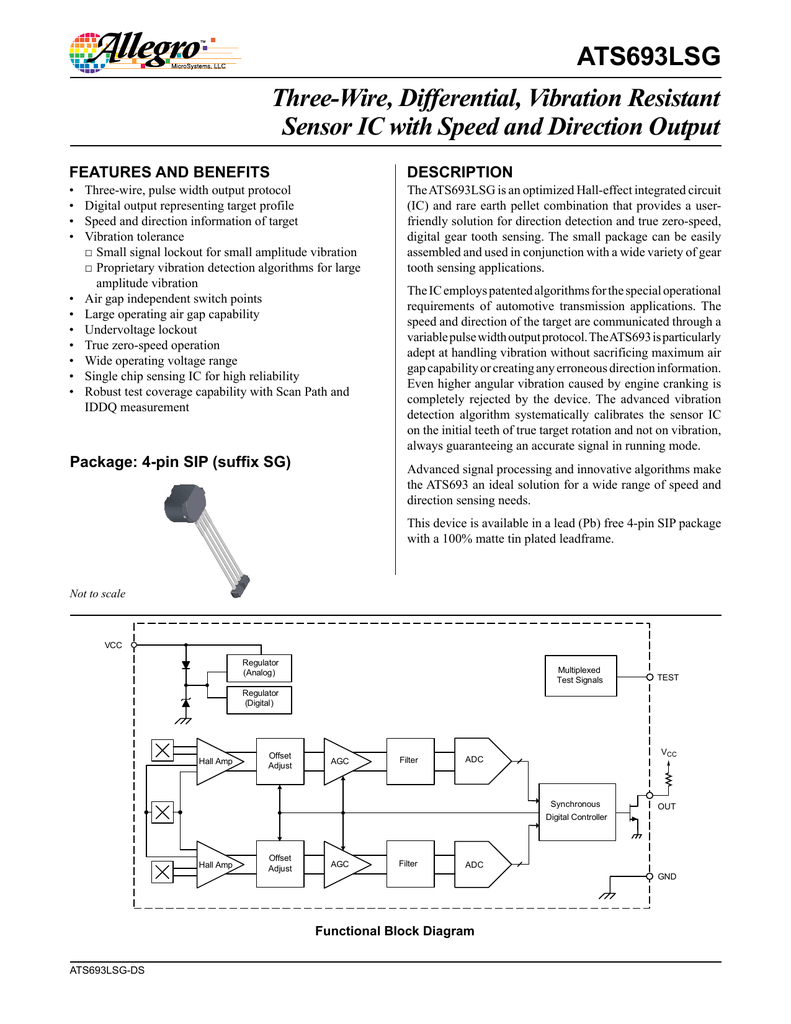 Ats693lsg Datasheet Halleffect Integrated Circuit Ic Sensors