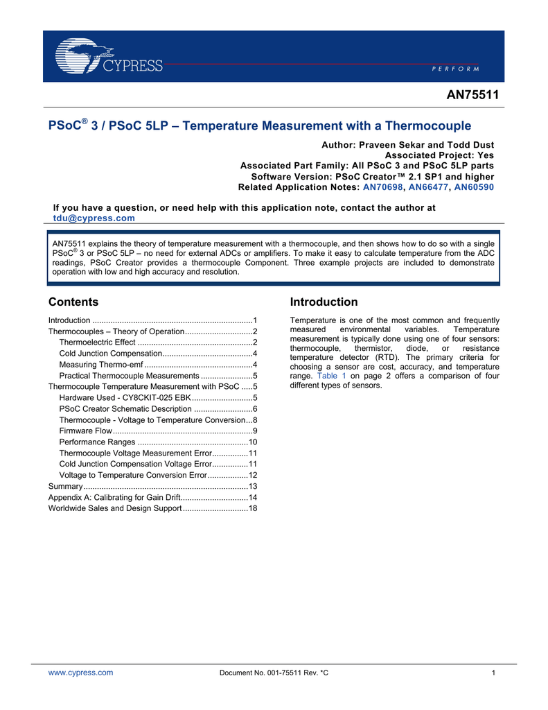AN75511 - PSoC 3 / PSoC 5LP - Temperature Measurement with a