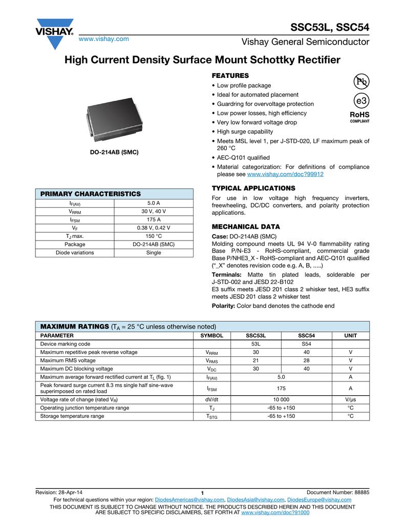 SSC53L, SSC54 Datasheet