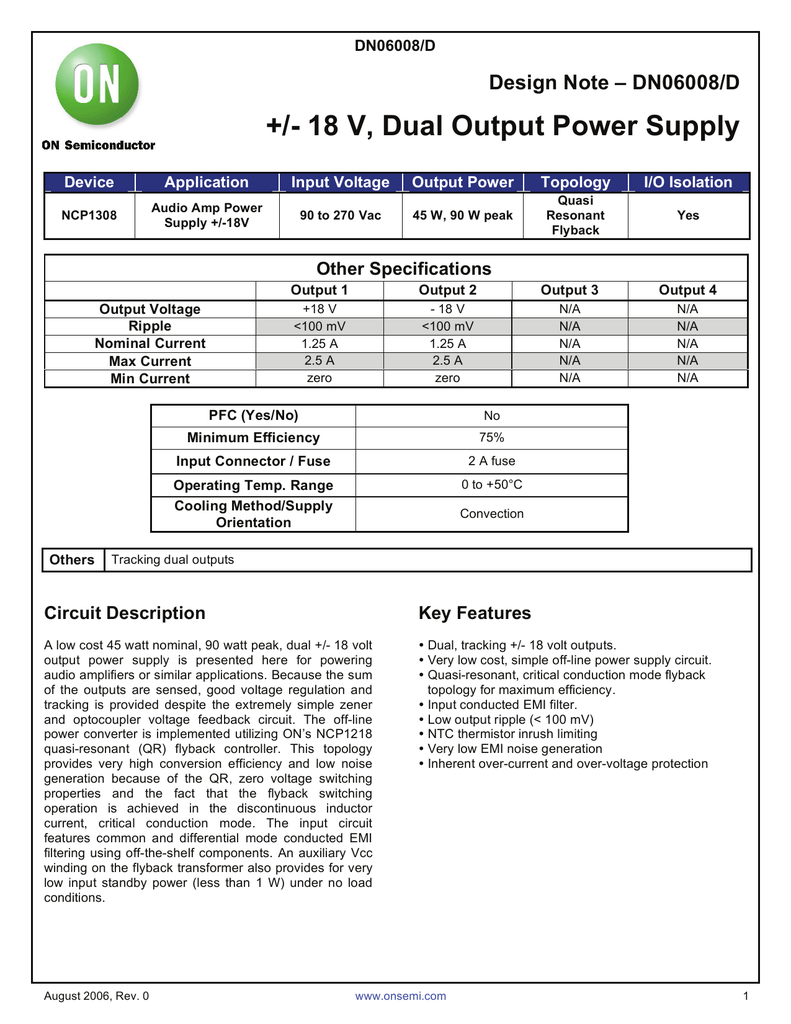 Ncp1308 18 V Dual Output Power Supply Low Noise For Audio Circuits