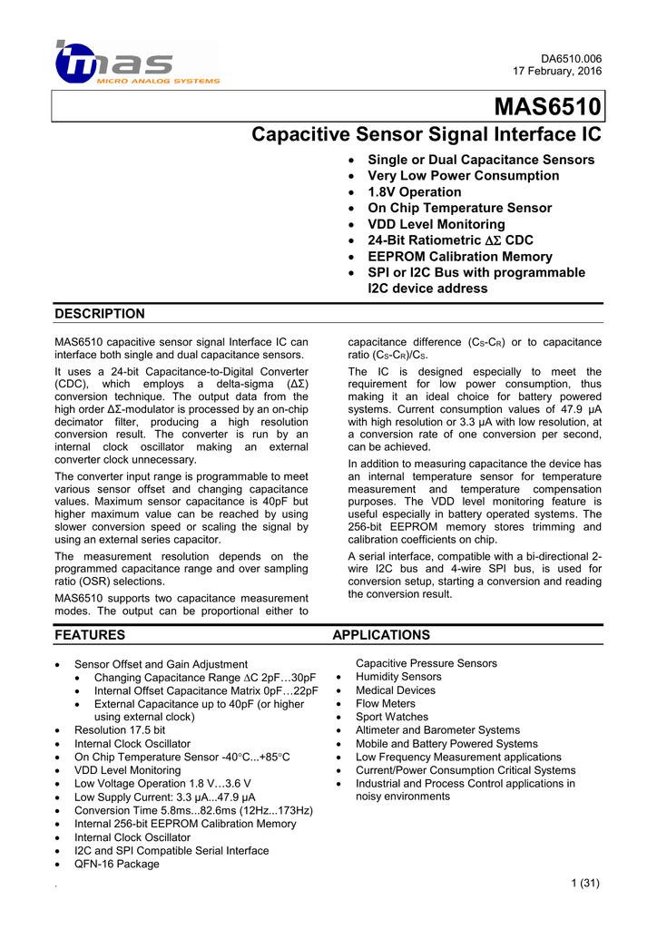 MAS6510 Datasheet