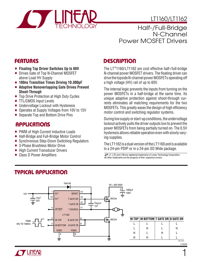 Lt1160 Lt1162 Half Full Bridge N Channel Power Mosfet Drivers Motor Control With Mosfets