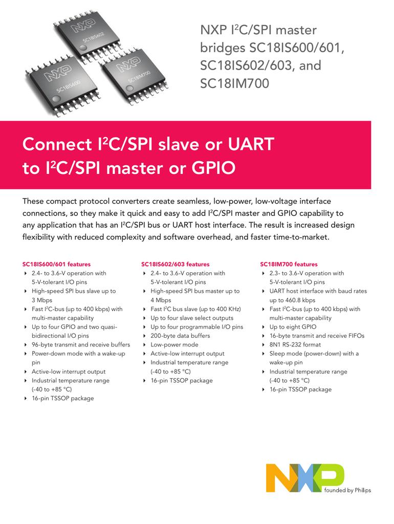 Connect I 2 C/SPI slave or UART to I 2 C/SPI master or GPIO