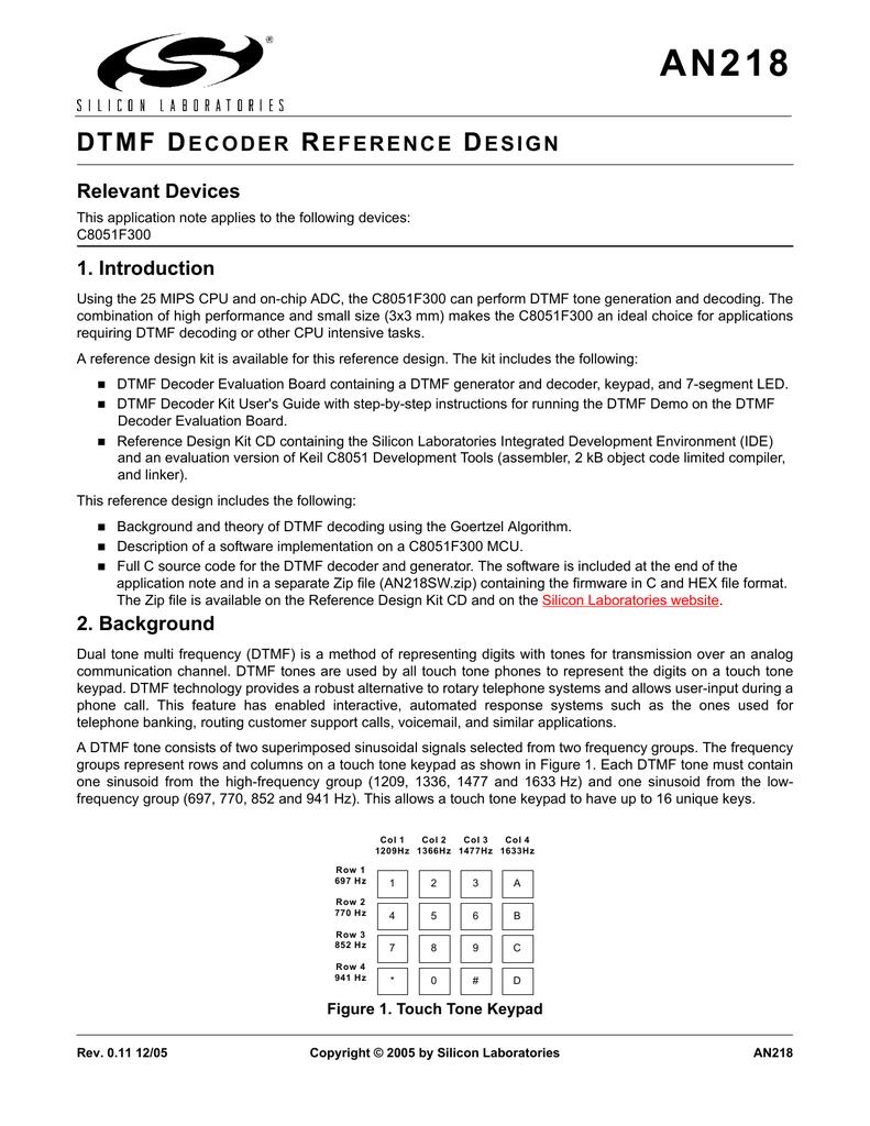 AN218: DTMF Decoder Reference Design