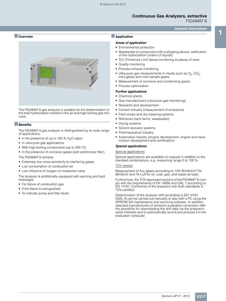 Ultramat/oxymat 6 process analytics siemens.