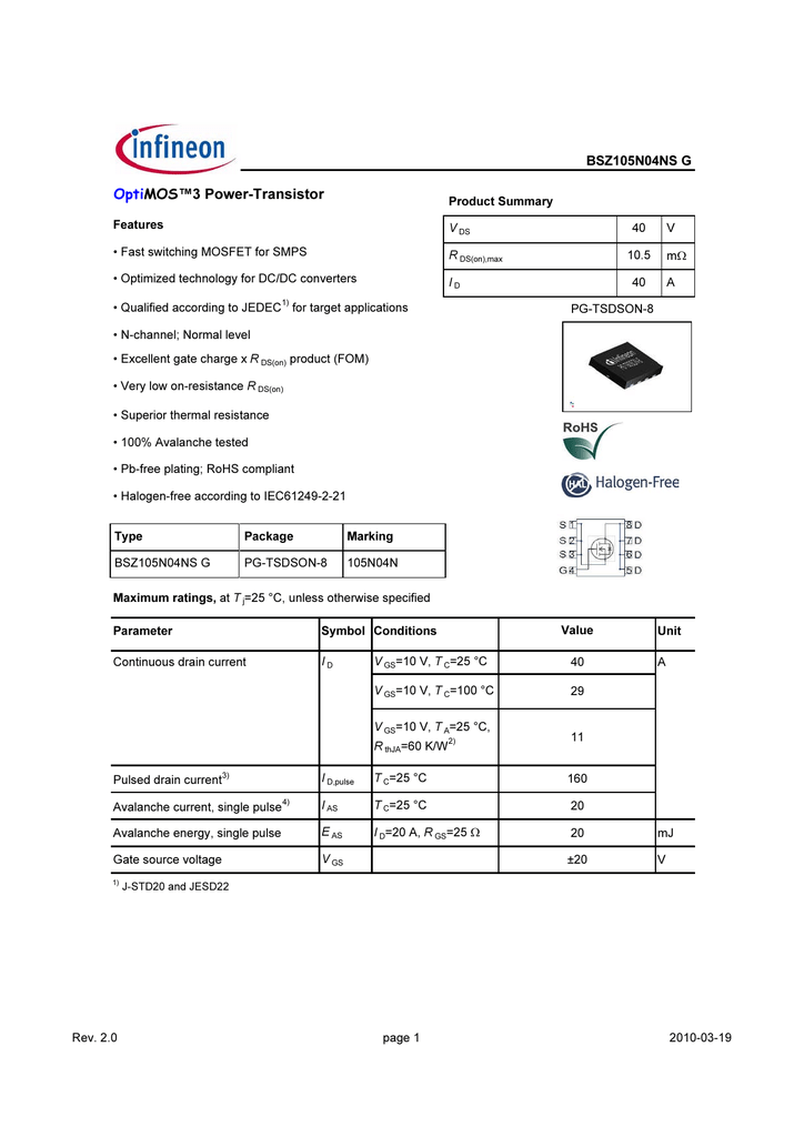 BSZ105N04NS G Data Sheet (328 KB, EN)