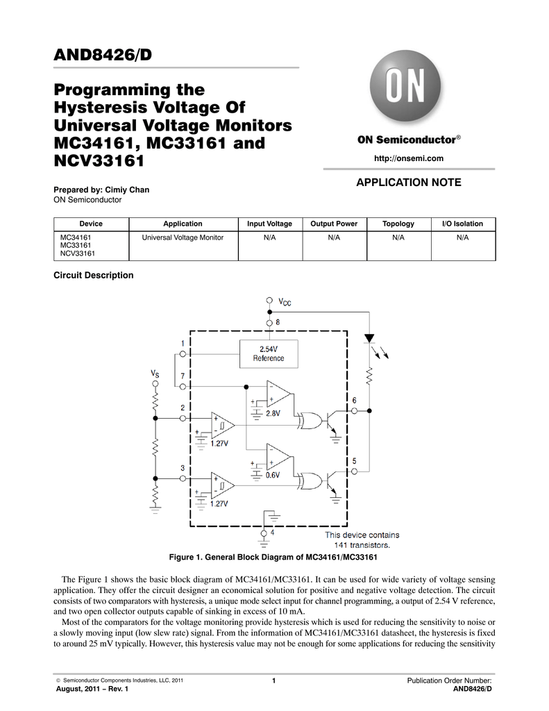 Programming The Hysteresis Voltage Of Universal Monitors Lm324 Comparator Circuit Mc34161 Mc33161 And Ncv33161