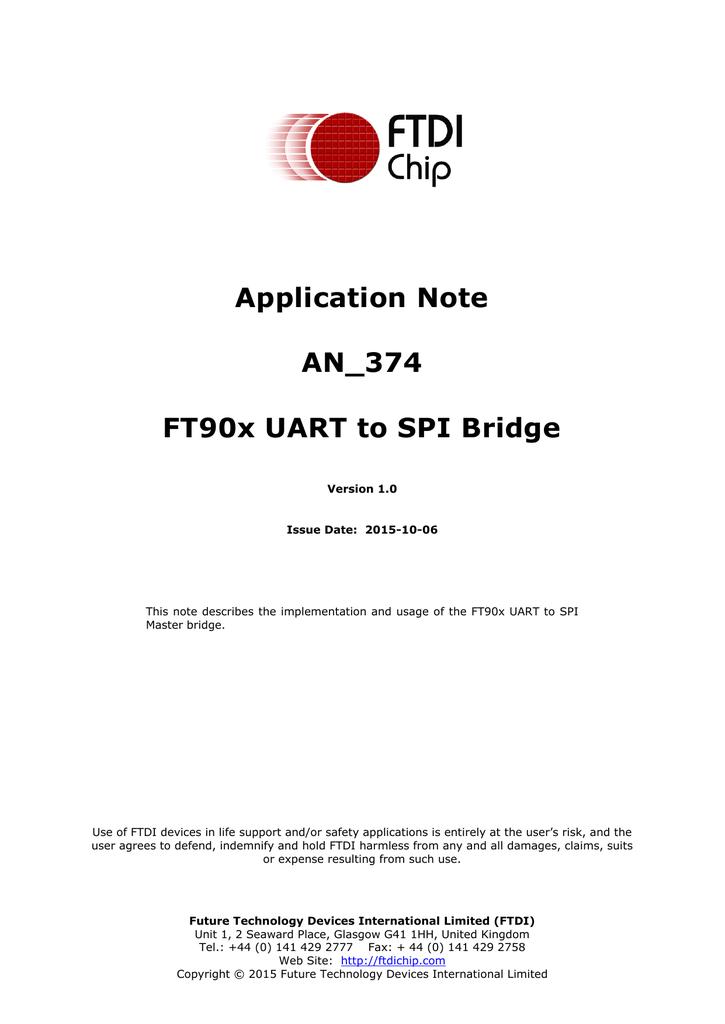 AN_374 FT90x UART to SPI Bridge