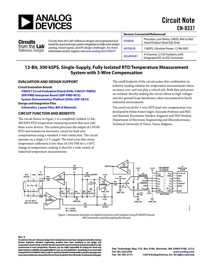 CN0337: 12-Bit, 300 kSPS, Single-Supply, Fully Isolated RTD