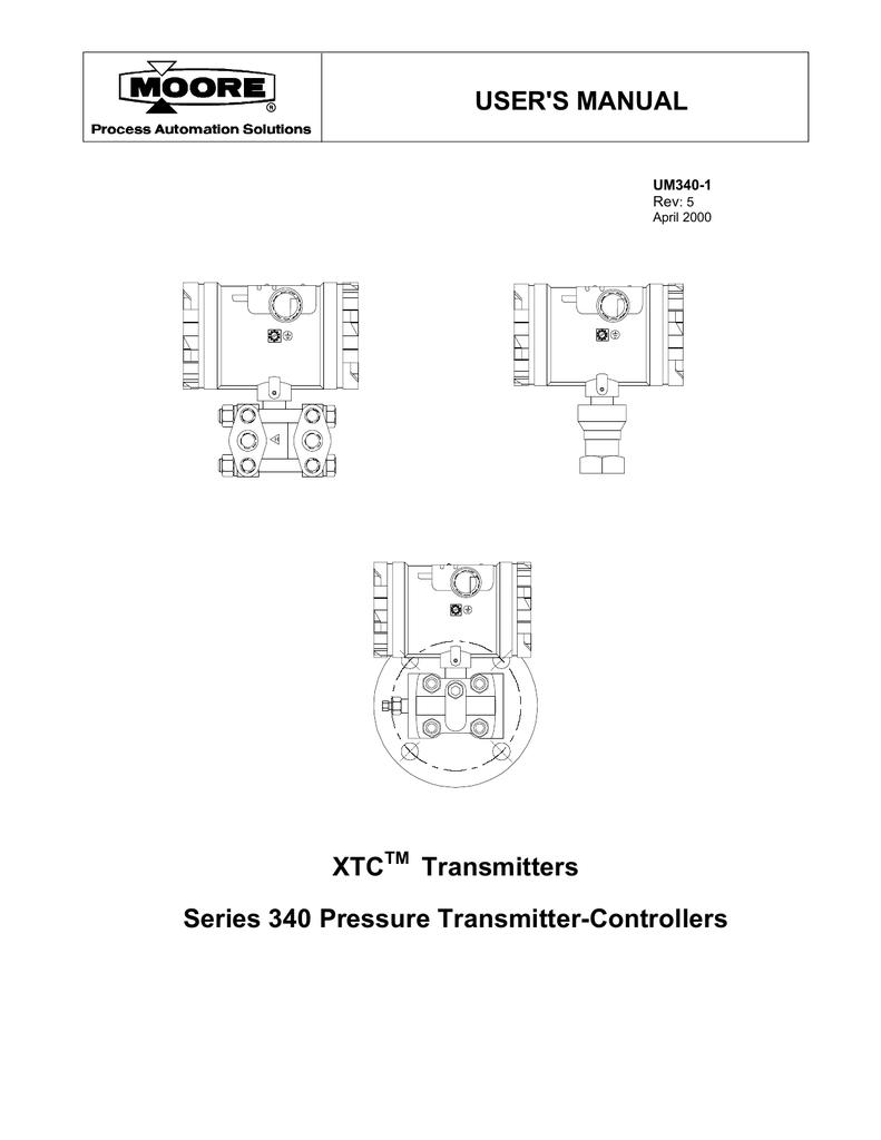 User's Manual for XTC Transmitters, Series 340 Pressure Transmitter