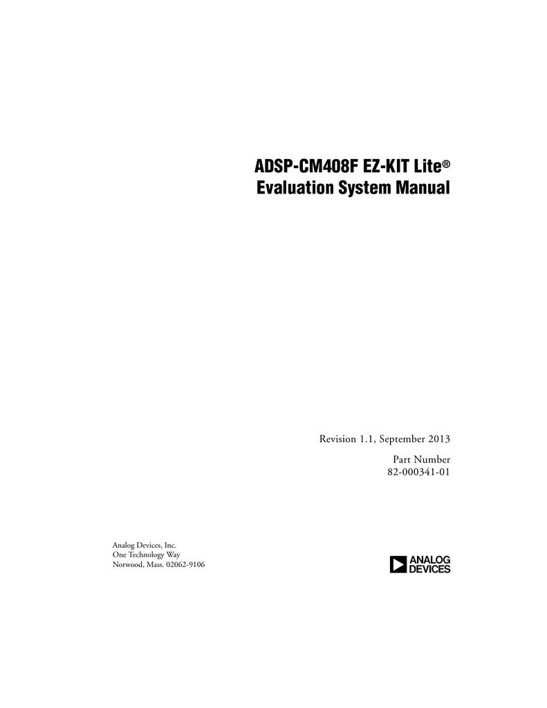 ADSP-CM408F EZ-KIT Lite Evaluation System Manual (Rev  1 1) PDF
