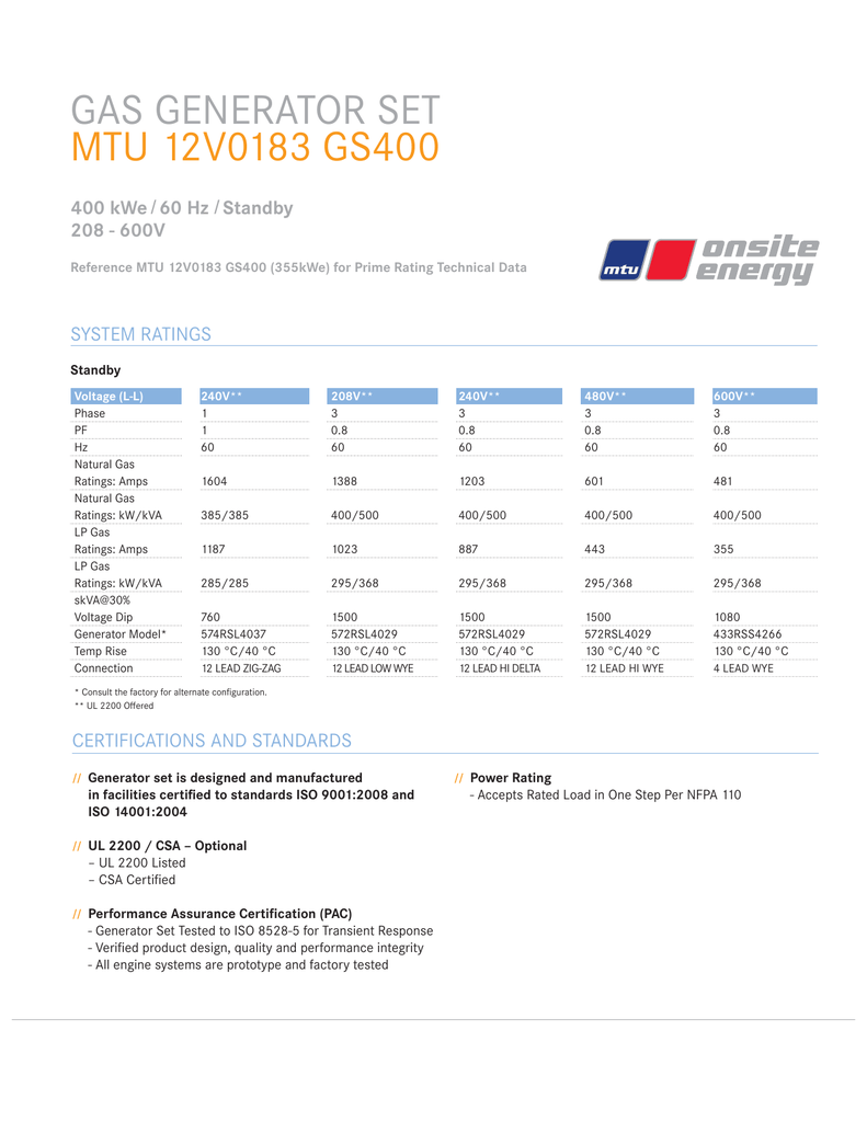 Spec Sheet MTU 12V0183 GS400 (400 kW Standby)
