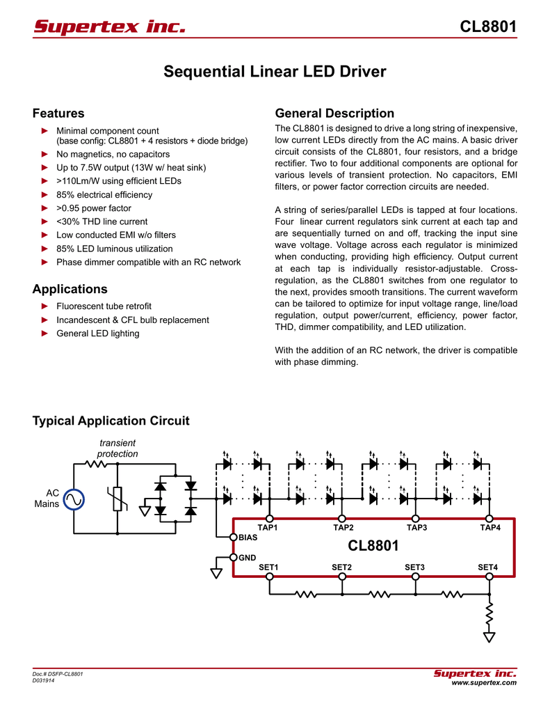 Cl8801 Data Sheet 06 22 2014 Download Bridge Rectifier Circuit With Capacitor