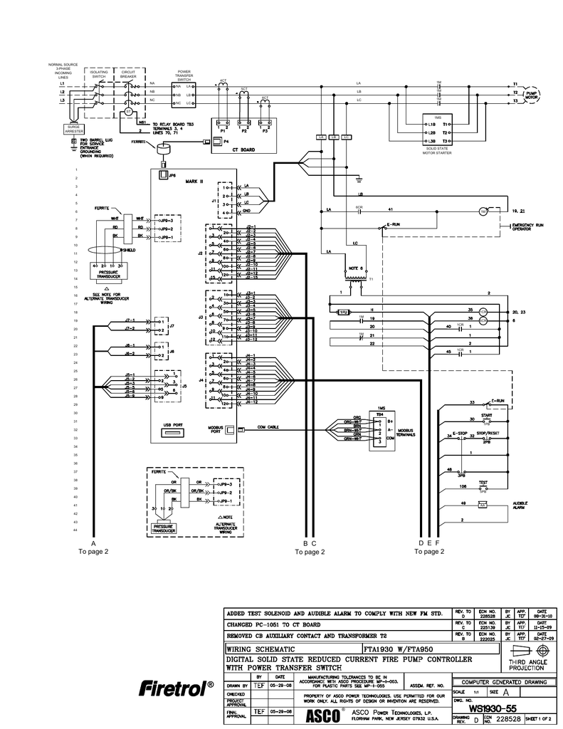 Fire Pump Transfer Switch Wiring Diagram Trusted Diagrams Fta 1930 With Fta950 System