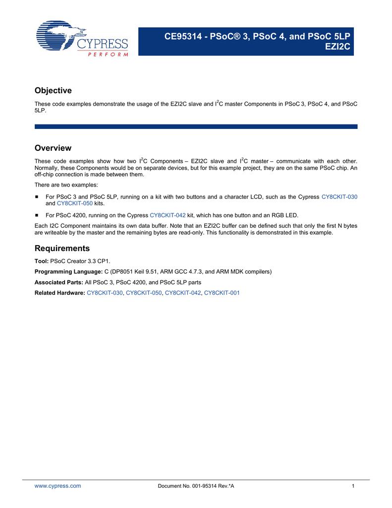 CE95314 PSoC 3, PSoC 4, and PSoC 5LP EZI2C pdf
