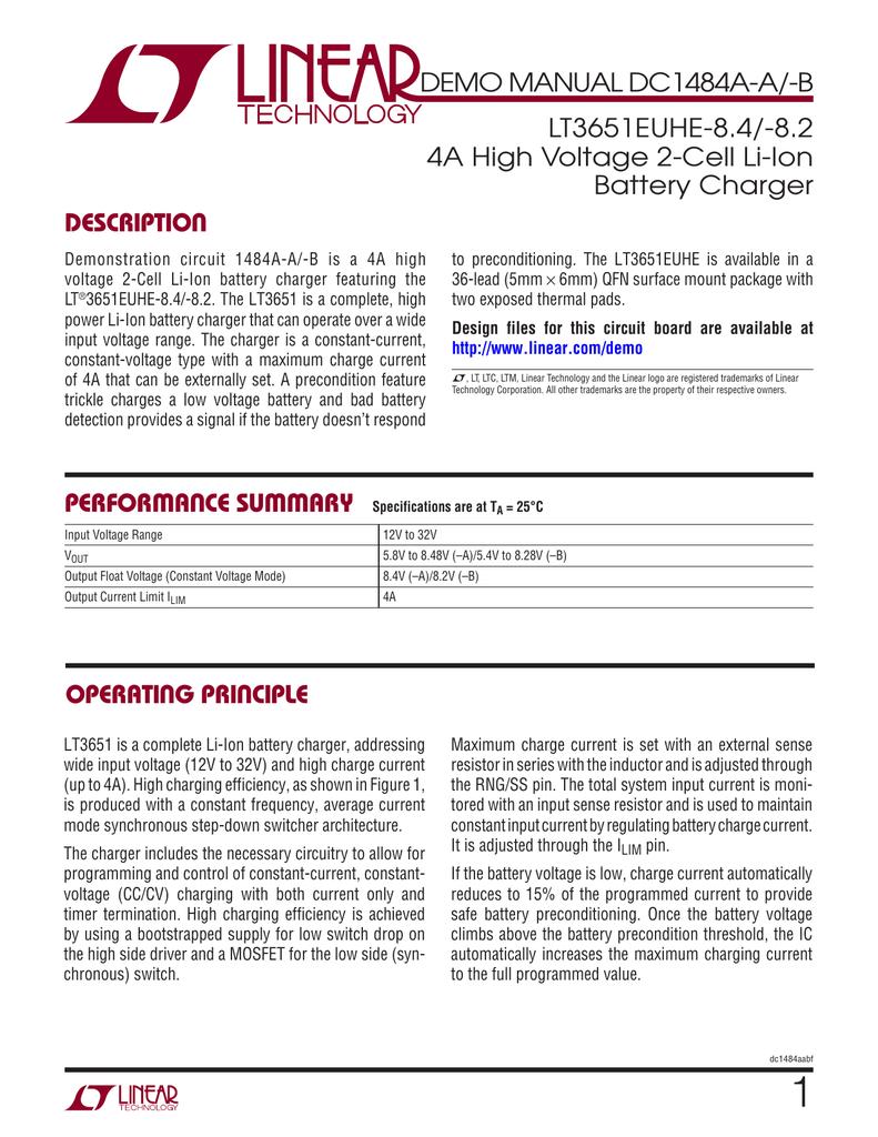 Dc1484a Demo Manual Twovoltagerangebatterychargercircuit