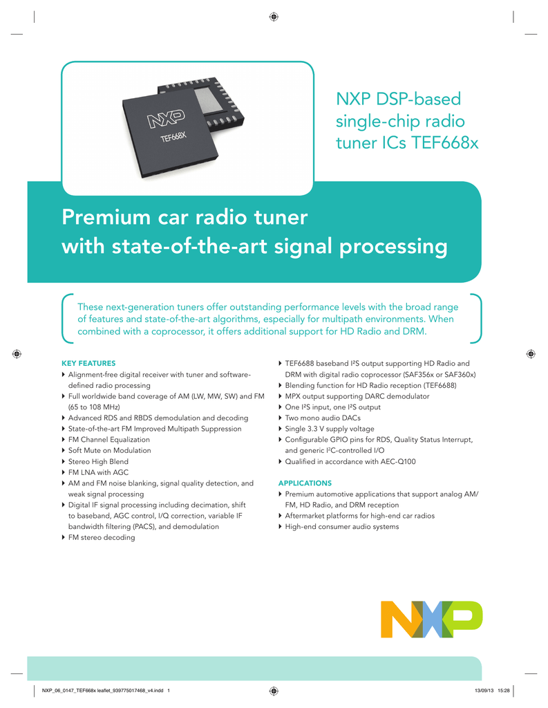 NXP DSP-based single-chip radio tuner ICs TEF668x
