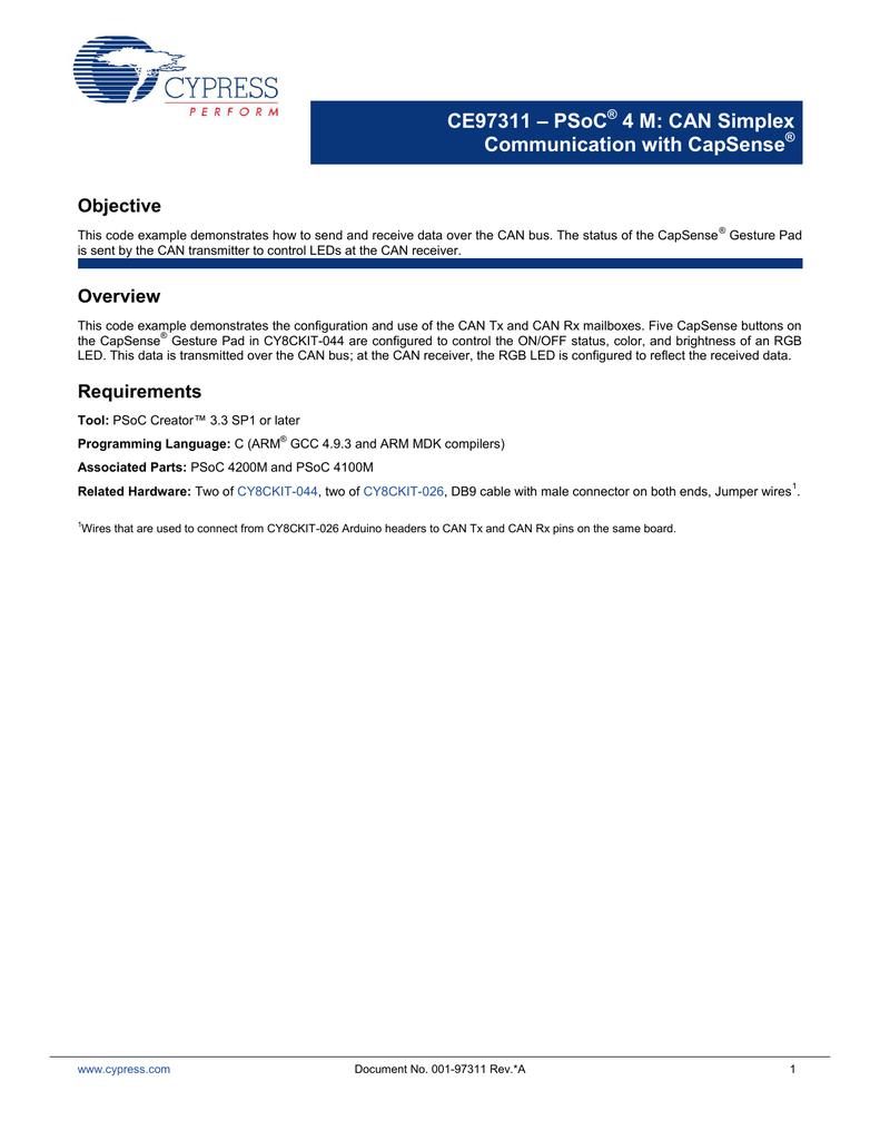 CE97311 PSoC 4 M CAN Simplex Communication with CapSense pdf