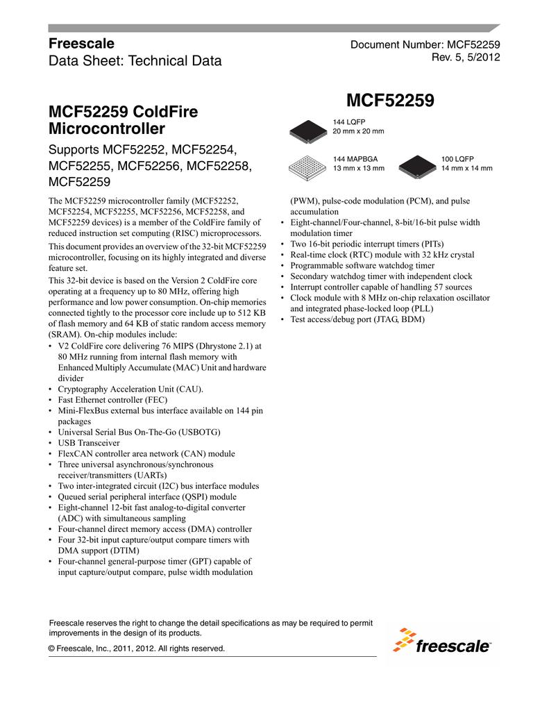 MCF52259 ColdFire Microcontroller - Data Sheet